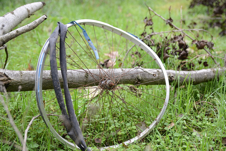 Broken bicycle wheel