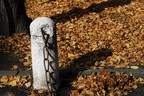 Autumn leaves falling and column with a chain