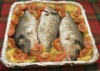 Fish and potatoes in foil