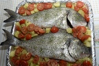 Baked sea bream with potatoes,cooking bream fillets