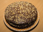 Chocolate cake with nuts and raisins