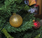 Red and gold Christmas tree baubles