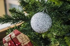 White and silver Christmas tree baubles
